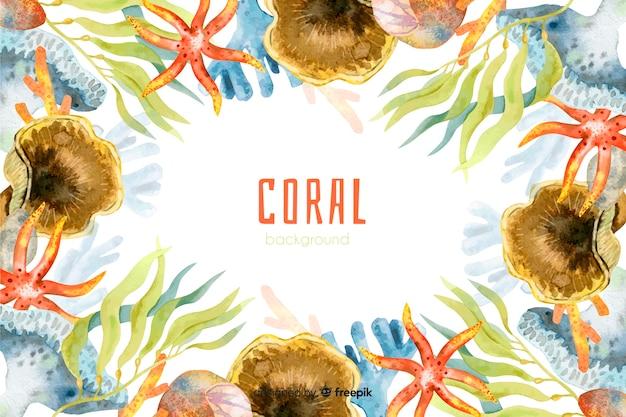 Bunter korallenroter hintergrund des aquarells Kostenlosen Vektoren