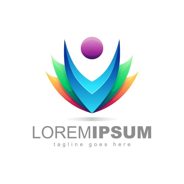Bunter leute logo design vector Premium Vektoren