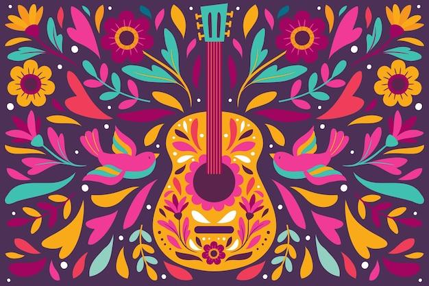 Bunter mexikanischer hintergrund mit gitarre Kostenlosen Vektoren