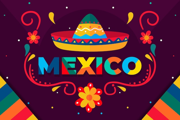 Bunter mexikanischer hintergrund Premium Vektoren