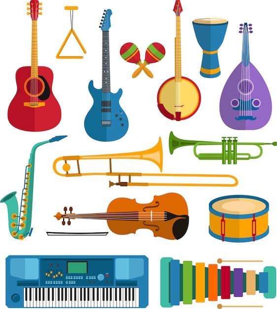 Bunter musikinstrumente flacher vektor Premium Vektoren