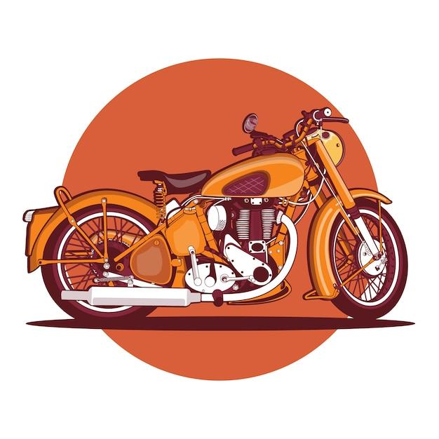 Bunter orange weinlesemotorradhintergrund Premium Vektoren