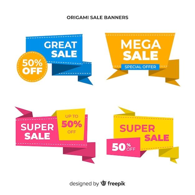 Bunter origamiart-verkaufsfahnensatz Kostenlosen Vektoren