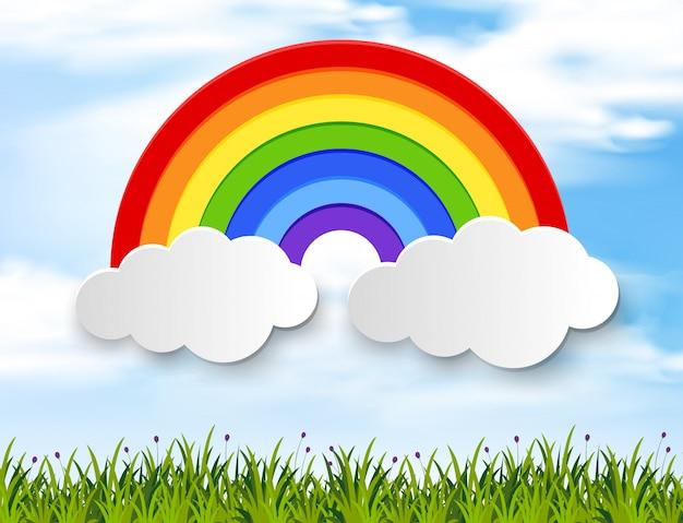 Bunter regenbogen im blauen himmel Premium Vektoren