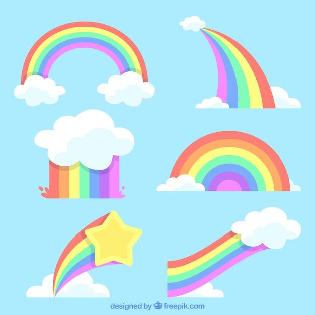 Bunter regenbogensatz Kostenlosen Vektoren