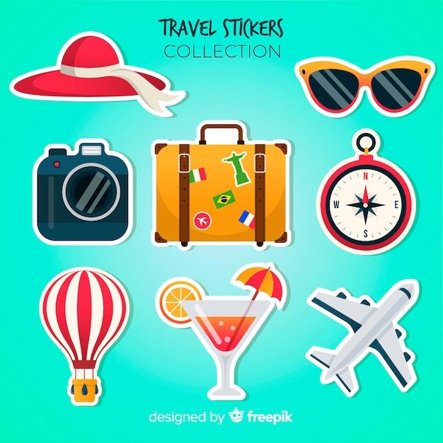 Bunter reiseaufklebersatz Kostenlosen Vektoren