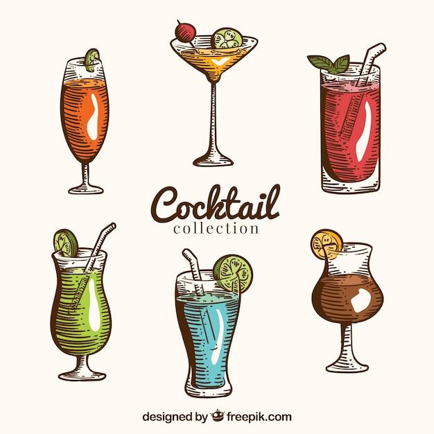 Bunter satz hand gezeichnete cocktails Kostenlosen Vektoren