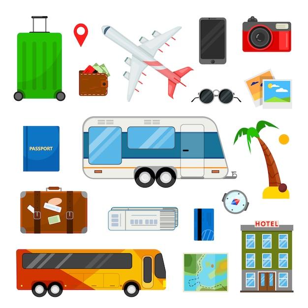 Bunter satz ikonen für reise in der flachen art auf weiß Premium Vektoren