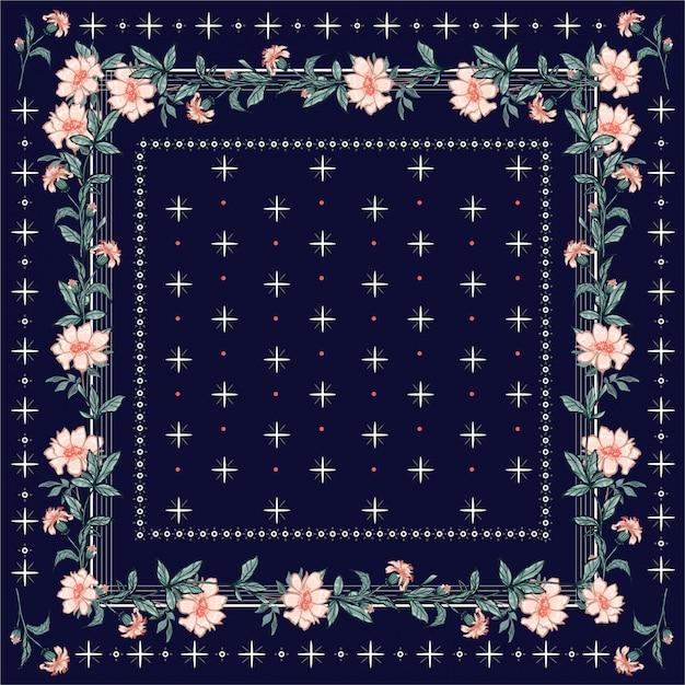 Bunter schal, schaldruck. blumenhintergrund des blühenden gartens mit linie und nahtlosem muster der geometrischen bandanaart. Premium Vektoren