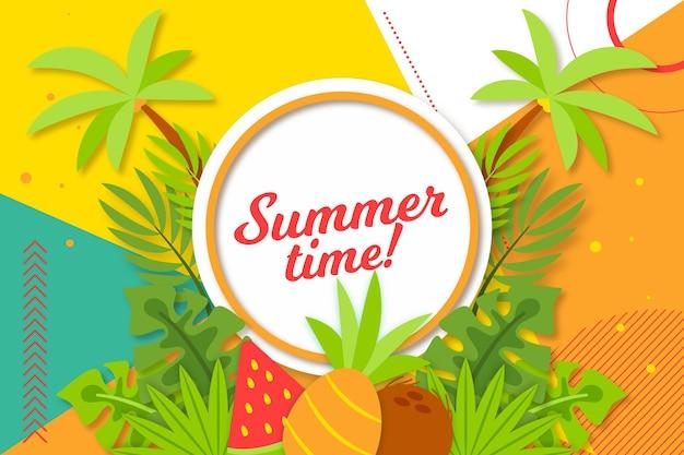 Bunter sommerhintergrund mit palmen Kostenlosen Vektoren