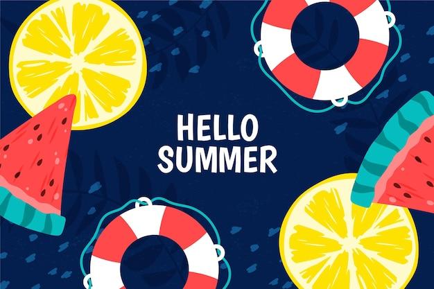 Bunter sommerhintergrund mit zitrus und wassermelone Kostenlosen Vektoren