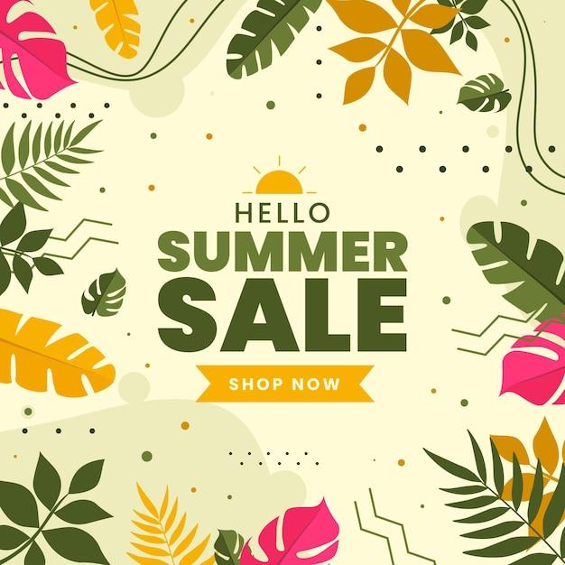 Bunter sommerverkauf mit blättern Kostenlosen Vektoren