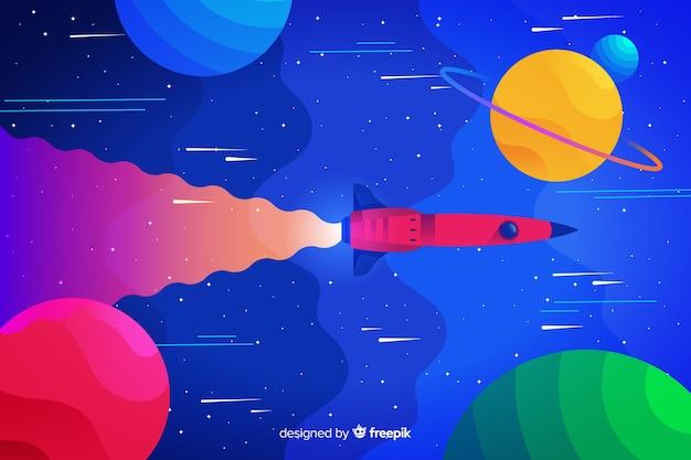 Bunter steigungsplatz mit einem raketenhintergrund Kostenlosen Vektoren