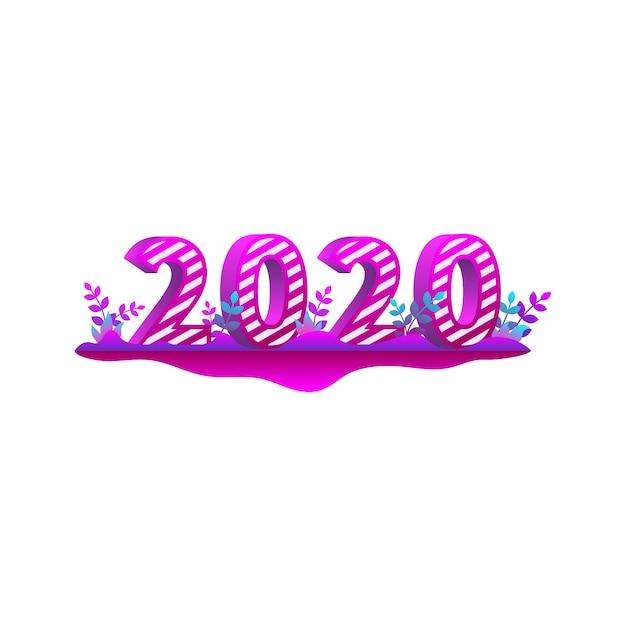 Bunter text des guten rutsch ins neue jahr 2020 in der art 3d Premium Vektoren