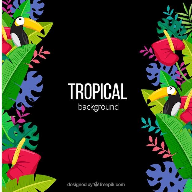 Bunter tropischer hintergrund mit flachem design Kostenlosen Vektoren