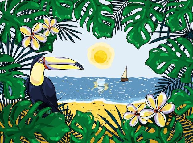 Bunter tropischer hintergrund mit tukan. illustration. für banner, poster, postkarten und flyer. Premium Vektoren