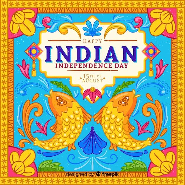 Bunter unabhängigkeitstag von indien-hintergrund Kostenlosen Vektoren