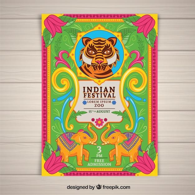 Bunter unabhängigkeitstag von indien-plakat Kostenlosen Vektoren