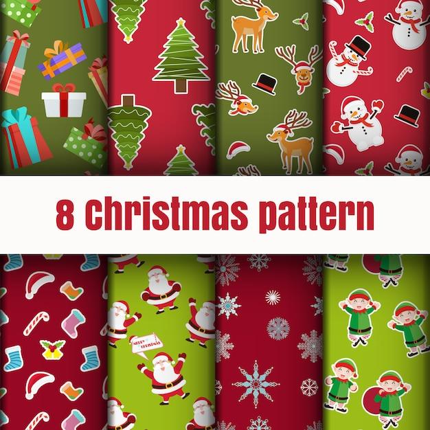 Bunter weihnachtsmustertapetenhintergrund Premium Vektoren