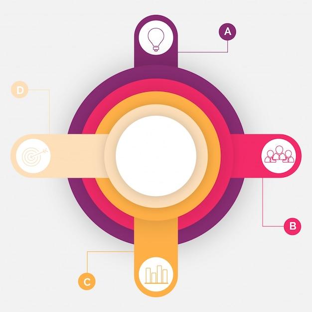 Bunter zeitplan infographics-plan mit vier (4) schritten. Premium Vektoren