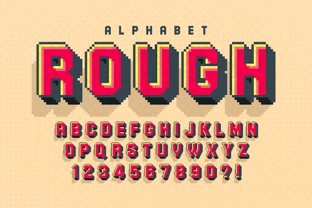Buntes 8-bit-alphabet mit logo-design Premium Vektoren