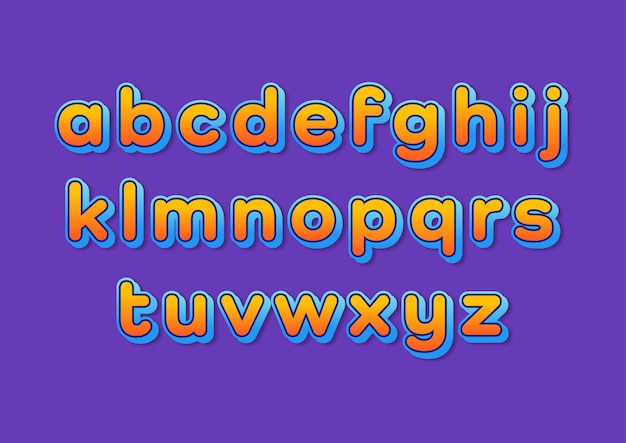 Buntes abgerundetes farbverlauf-modernes alphabet-set Premium Vektoren