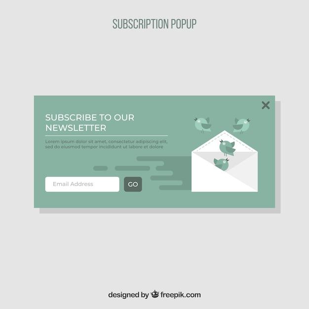 Buntes abonnement pop-up mit flachem design Kostenlosen Vektoren