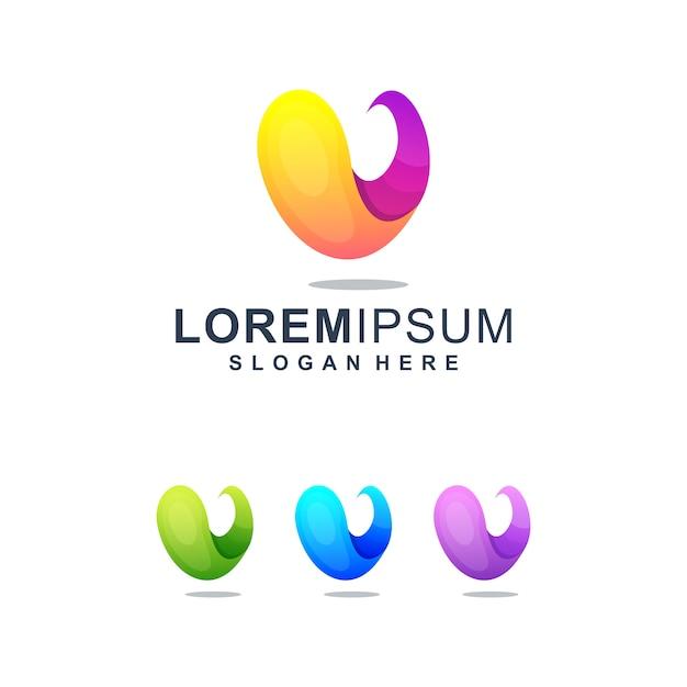 Buntes abstraktes logo des buchstabe-v Premium Vektoren
