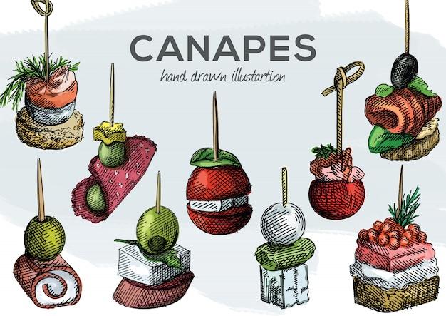 Buntes aquarell handgezeichneter satz von häppchen. oliven, trauben, tomaten, schinken und wurst, lachs, garnelen, brot, käse, käsecreme, kaviar, gurke auf zahnstochern Premium Vektoren