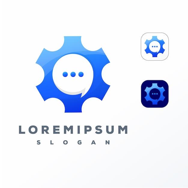 Buntes ausrüstungs-chat-logo-design Premium Vektoren
