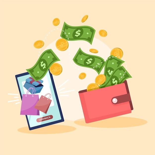 Buntes cashback-konzept dargestellt Premium Vektoren