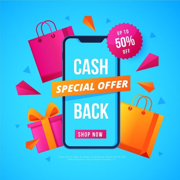 Buntes cashback-konzept mit münzen Kostenlosen Vektoren
