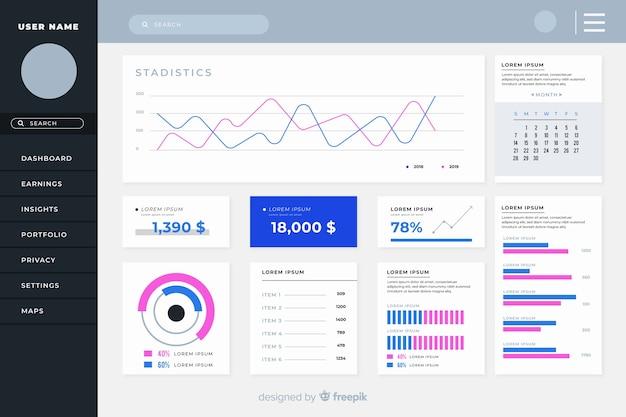 Buntes dashboard-bedienfeld Kostenlosen Vektoren