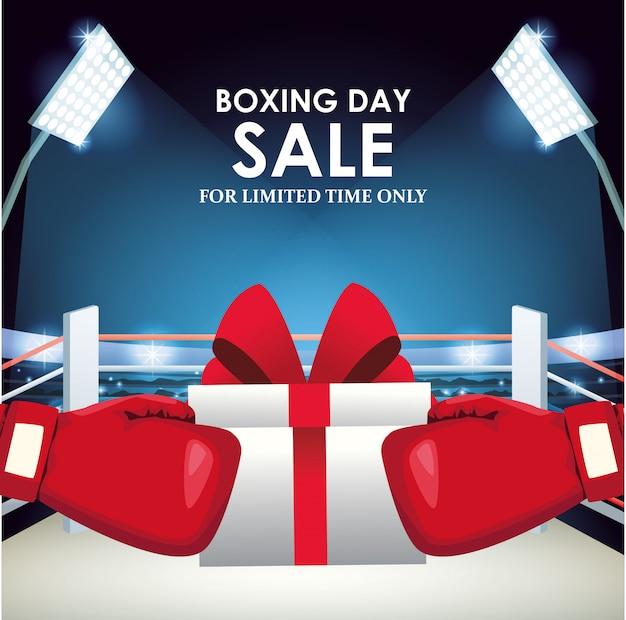 Buntes design der boxverkaufs-fahne mit geschenkbox und boxhandschuhen über boxring Premium Vektoren