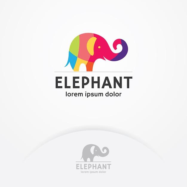 Buntes elefantlogo Premium Vektoren