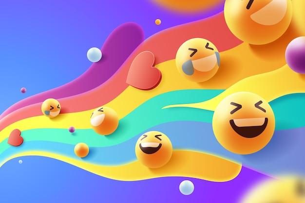 Buntes emoji-set-design Kostenlosen Vektoren