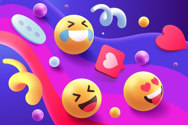 Buntes emoji-set-thema Kostenlosen Vektoren