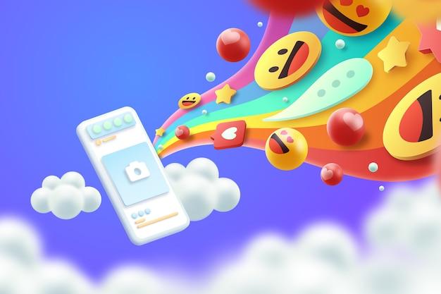 Buntes emojis 3d hintergrundkonzept Kostenlosen Vektoren