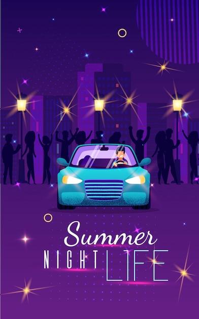 Buntes fahnen-sommer-nachtleben, beschriftend Premium Vektoren
