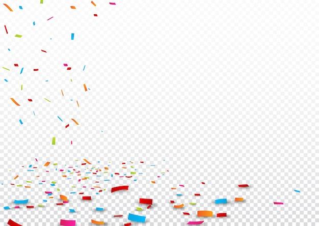 Buntes farbband und confetti, getrennt auf transparentem Premium Vektoren