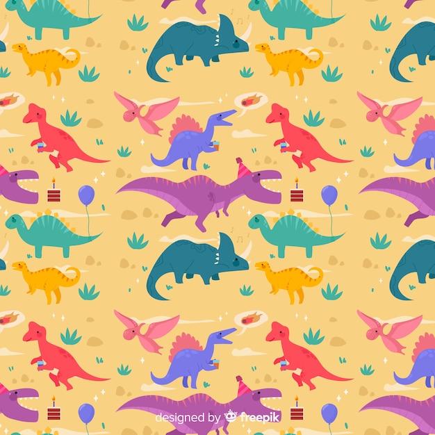 Buntes flaches dinosauriermuster Kostenlosen Vektoren