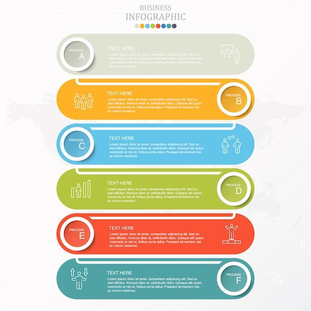 Buntes geschäft mit 6 schritten infographic und ikonen. Premium Vektoren
