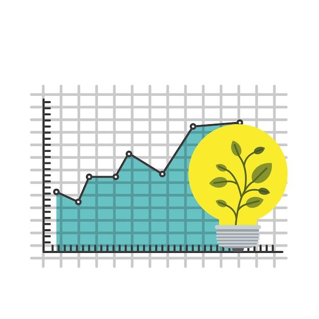 Buntes Gitter mit Grafikwachstumswirtschaft und Blumentopf ...