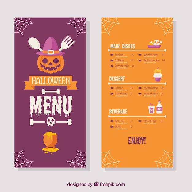 Buntes halloween-menü mit flachem design Kostenlosen Vektoren