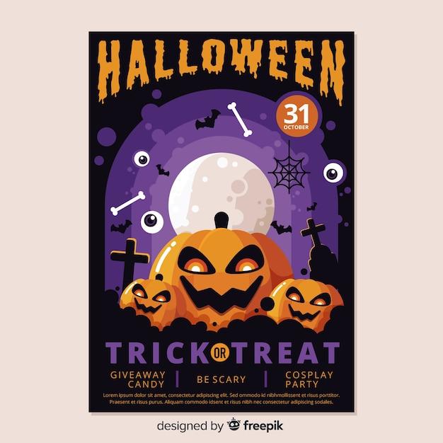 Buntes halloween-plakat im flachen design Kostenlosen Vektoren