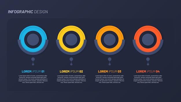 Buntes infografikdesign, schablone. 4 schritte. Premium Vektoren