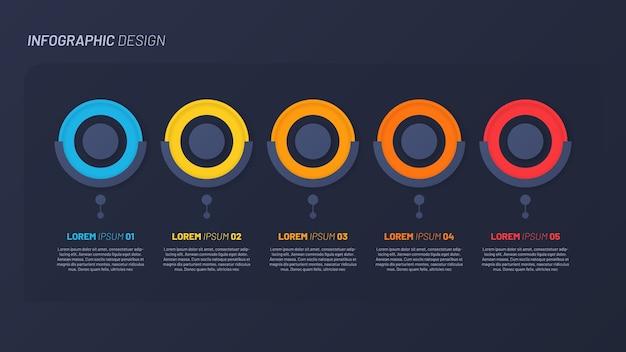 Buntes infografikdesign, vorlage, konzept, präsentation. 5 schritte Premium Vektoren