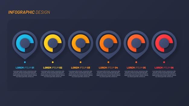 Buntes infografikdesign, vorlage, konzept, präsentation. 6 schritte Premium Vektoren