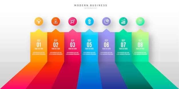 Buntes infographic mit geschäftsschritten Kostenlosen Vektoren