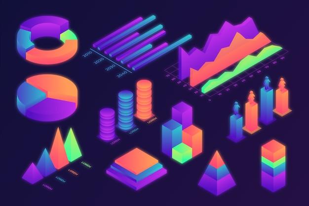 Buntes isometrisches infografikpaket Kostenlosen Vektoren
